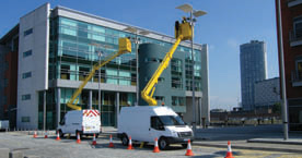 Cherry picker working in Liverpool