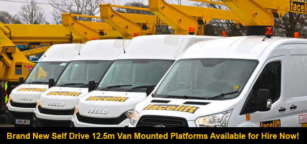 Brand new 12.5m van mounted platforms available for hire