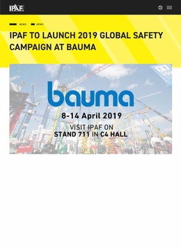 IPAF to launch new safety campaign at Bauma 2019