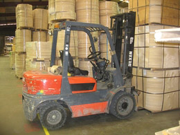Worker falls from forklift truck
