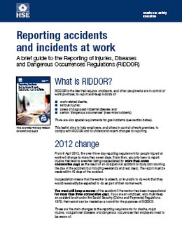HSE  RIDDOR changes its reporting process