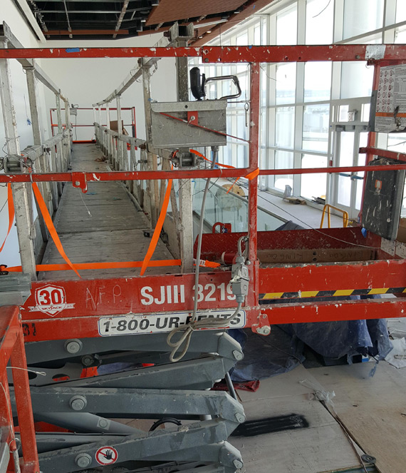 Picture of Scissor lifts are good, but they aren't made to be the ends of bridges