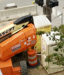 When driving a cherry picker, awareness is key!
