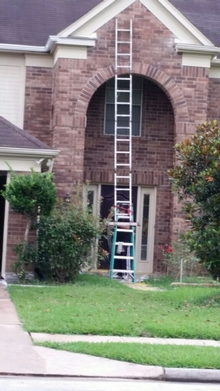 Connecting ladders. Get this man some training!