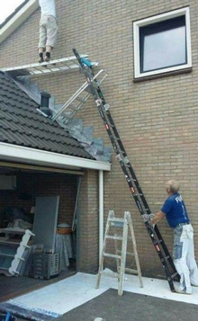 Having lots of ladders doesn't make this safe or a good idea