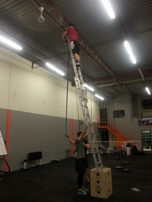 Exercise equipment isn't made for balancing ladders