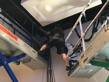 Stretching between scissor lifts - seriously stupid